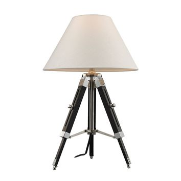 Studio Table Lamp In Chrome And Black With Woven Linen Shade