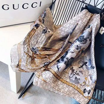 GUCCI Women Fashion Accessories Sunscreen Cape Scarves Silk Scarf