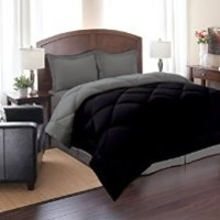 Elegant Comfort ® Goose Down Alternative Reversible 3pc Comforter Set, Full/Queen, Black/Gray