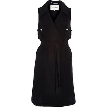 River Island Womens Black crepe sleeveless trench jacket