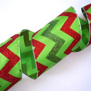5 inch wide ribbon wired Christmas ribbon decorations lime green red chevron Christmas ribbon wreaths make Christmas wired ribbon 5yd