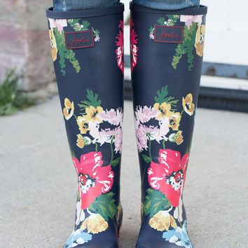 Rain Boots - French Navy Posy