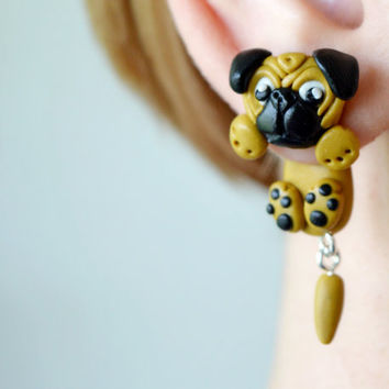 Pug earrings,dog double sided earrings,animal ear jackets,pet front back cuff,two part dangling,clinging earring,two piece crawler,faux plug