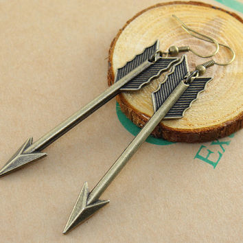 antiqued bronze Arrow earrings