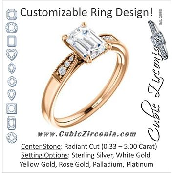 Cubic Zirconia Engagement Ring- The Ruth (Customizable 7-stone Radiant Cut Style with Vintage Filigree)