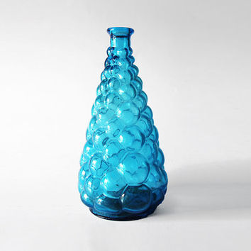 Vintage Tall Italian Blue Bubble Glass Genie Bottle Vase  60s 70s