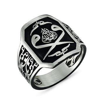 Calligraphy double vav writing black coated ground 925k sterling silver mens ring