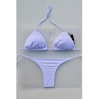 White 3 Piece Set Triangle Top, Side Tie Thong & Side Tie Scrunch Bottom Bikini Swimsuit (Many colors available)