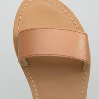 ASOS FLIQUE Wide Fit Leather Flat Sandals at asos.com