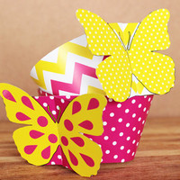 3D Butterfly Cupcake Wrappers – pink and yellow butterflies with polka dots & chevron – printable party supplies - INSTANT DOWNLOAD