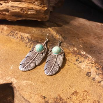 Feather Natural Turquoise Earrings