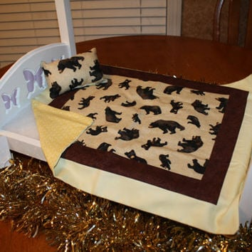 """American Girl sized, reversible doll bed quilt 17"""" x 20"""" with matching Pillow 4"""" x 6"""""""