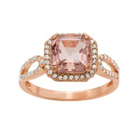 14k Rose Gold Over Silver Morganite Triplet & Lab-Created White Sapphire Halo Ring (Pink)