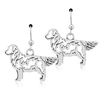 Sterling Silver Golden Retriever Earrings On French Wires