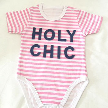 Holy Chic Baby Girls Pink Stripes Onesuit Modern Quirky Typography 3-9 months Bodysuit. Eco Friendly Felt. Cute Baby Shower Gift