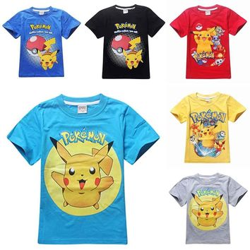 UNIKIDS children pokemon go shirt kids pokemon t shirt for girls tops and blouse boy clothes tee tshirt cartoon clothing costume
