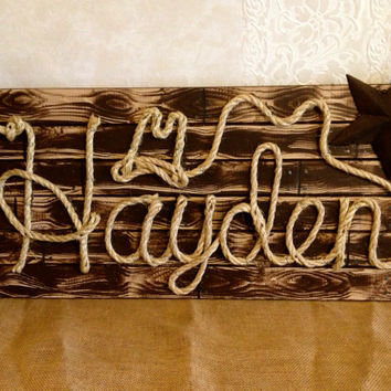 "HAYDEN : 32"" Western Rope Name Sign Cowboy Theme Room Nursery- Brown Wood Grain Finish- (002)"