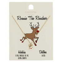 Ronnie the Reindeer Necklace - Gold