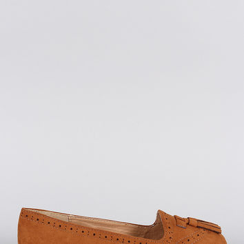 Bamboo Tassel Suede Perforated Round Toe Loafer Flat