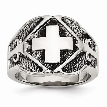 Men's Stainless Steel Polished & Antiqued Cross Ring