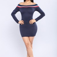 Feel It Still Stripe Dress - Navy