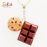 Happiness is Chocolate - Miniature Chocolate and cookies key chain - Handmade polymer clay chocolate and cookies gift
