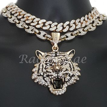 "Iced Out Anchor Tiger Pendant 16"" Iced Out Choker 18"" Puffed Gucci Chain Set G57"