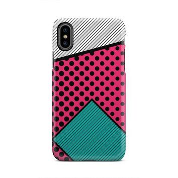 Pink Gray And Green Geometric Shape iPhone X Case