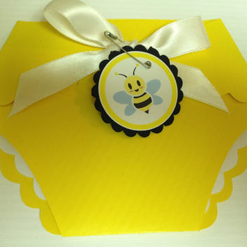 25 Yellow Baby Shower Diaper Invitations  by PaperDivaInvitations
