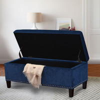 Royal Blue Microfiber Rectangular Tufted Storage Bench Ottoman Footstool 42x18