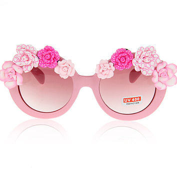 Hot Sale Summer Vacation Pink Gradient Beach Rose Sunglasses [6048910913]
