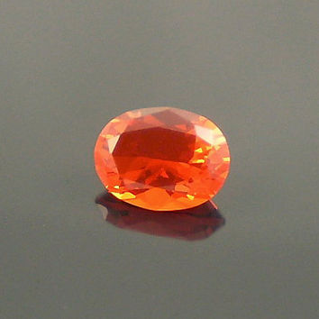 Fire Opal: 0.84ct Cherry Red Oval Shape Gemstone, Loose Natural Hand Made Mexican Faceted Precious Gem, Artisan Jewelry Design Supply O19
