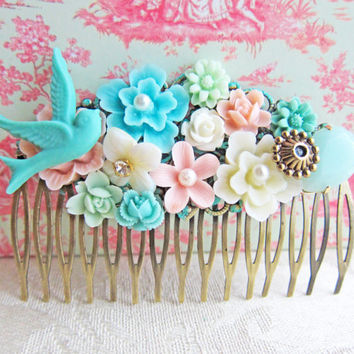 Pink Mint Green Wedding Hair Comb Aqua Bridesmaid Gift Floral Comb Flower Soft Dusty Sea Foam Turquoise Bridal Head Piece Pastel Colors
