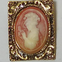 Cameo Brooch, Cameo Pendant, Pink Background, Square Setting, Oval Cameo, Antiqued Gold Tone, Lady Profile, Vintage Victorian Steampunk