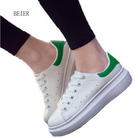 2017 new fashion classic thick platform women vulcanize shoes comfortable casual white lace-up femen shoe