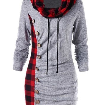 New Grey Checkered Buttons Drawstring Pleated Cowl Neck Long Sleeve Casual Mini Dress