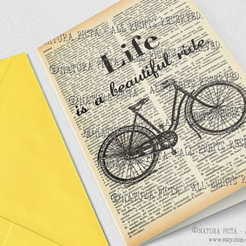 Life is a beautiful ride Greeting Card-Bicycle card-4x6 card-Birthday card-Quote card-Dictionary quote card-design NATURA PICTA NPGC087