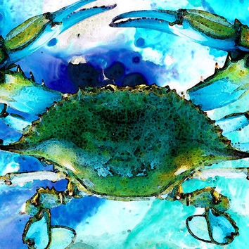 Blue Crab - Abstract Seafood Painting Print