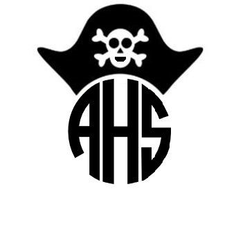 Pirate Monogram Decal - Monogrammed Pirate Car Sticker