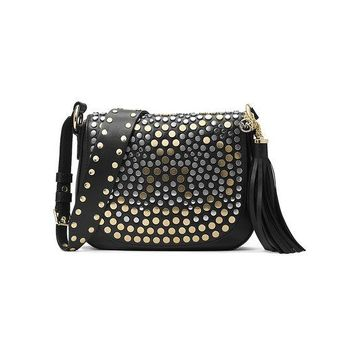 DCCKHI2 MICHAEL Michael Kors Studded Brooklyn Medium Saddle Bag
