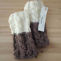 Knitted Boot Cuffs - Ivory with Brown Knit Boot Cuffs - Leg Warmers - Boot Toppers - Knit Boot Socks