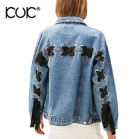 Kuk Jeans Jacket Women Oversized Denim Jacket Pocket Lace Up Ladies Outerwear Basic Coats Autumn Winter Casaco Feminino A558