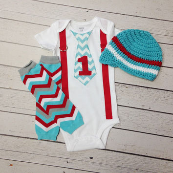 Baby Boys First Birthday Outfit, Cake Smash Outfit, Boys Chevron Leg warmers, Baby Boy Beanie, Boys 1st Birthday, Boys Suspenders with Tie