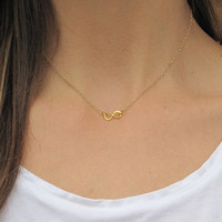 SHOP SALE - Petite 14k Gold Fill Infinity Necklace On Dainty 24k Gold Fill Chain