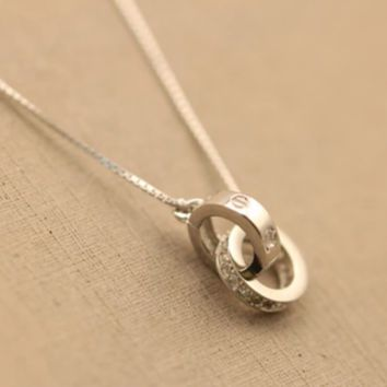 """""""Cartier""""S925 silver chain sterling silver necklace 2-ring circle pendant accessories set auger han edition clavicle contracted package mail lady"""