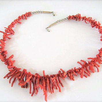 Coral Branch Necklace, Coral Branches,  Silver Screw Clasp, southwestern,  Vintage Choker