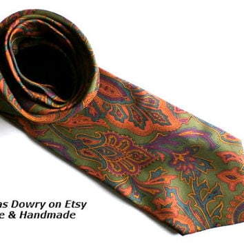 Authentic Vintage Silk Necktie,  LANVIN tie Neckwear, Gorgeous Men's Silk Neck tie,  Men's Accessories, Vintage Necktie made in Italy