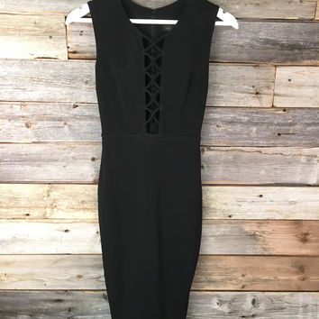 STRUNG UP MIDI DRESS - BLACK