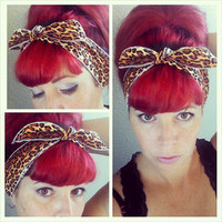 SALE Skinny Pick a color one sided Headwrap Bandana Hair Bow Tie 1950s Vintage Style - Rockabilly - Pin Up - For Women, Teens