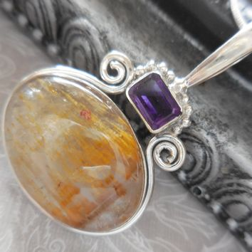 Cacoxenite & Amethyst .925 Sterling Silver pendant/necklace